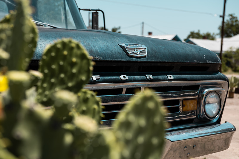Vintage Ford Truck With Cactus in Foreground Marfa Texas