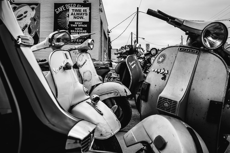 Vintage Scooters in Black and White Dallas Texas