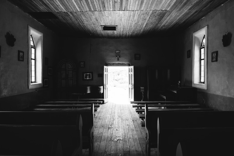 St Agnes Church Interior Terlingua Texas in Black and White
