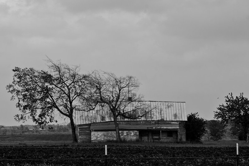 Abandoned Farmhouse in Black and White Texas