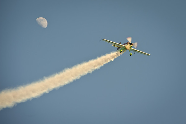 Veres Zoltan and his MXS at Skydive Dubai with a rising moon