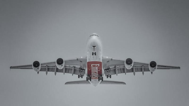 Airbus A380 landing into Dubai