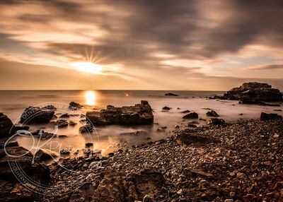 Morning sunrise over Rocky beach