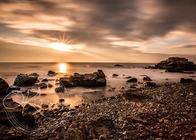 Morning sunrise over Rocky beach