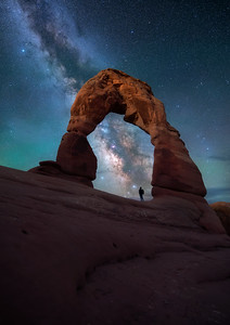 The classic Delicate arch, milky way self portrait.  This time with just a faint hint of moonlight illuminating the arch as it crests the horizon.