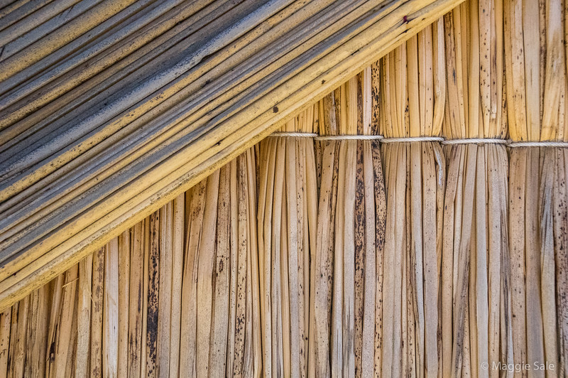 Close up of the reed huts