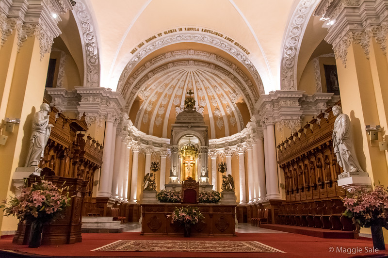 The cathedral interior in Arequipa. Although quite ornate it was very light inside and the detail was beautiful.