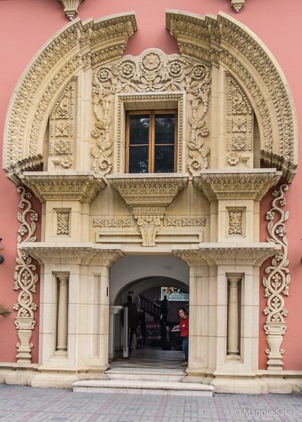 This elaborate style front entrance of a private home is now a store selling Alpaca wool clothes!