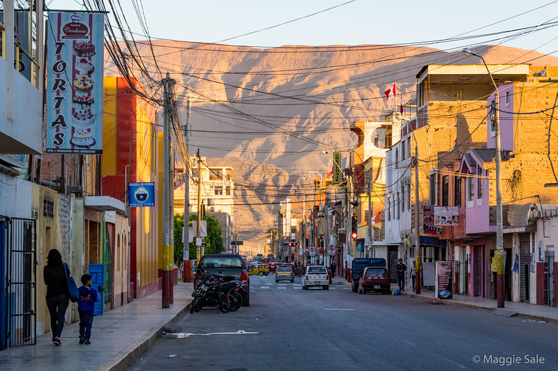 """One of the main streets in the town of Nazca where we spent the night, during the late afternoon """"golden hour""""."""