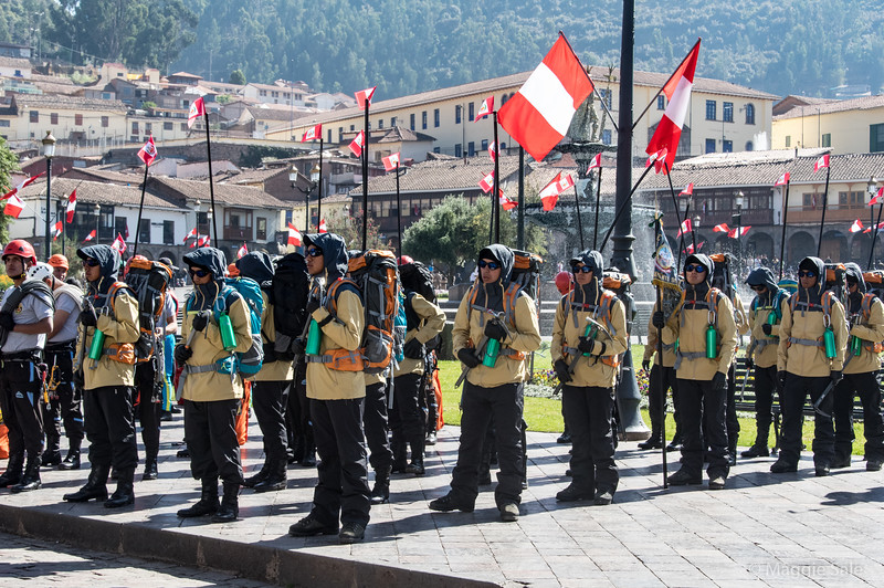 Peru's National holiday is on July 28 and there was a parade a couple of days before in Cusco of all types of army, police, emergency workers, etc. Very impressive as they were all lining up to march. These people looked like mountain rescue. Everyone looked immaculate in their gear, uniforms etc.