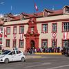 The main square of Puno with a queue forming at the Palacio de Justicio - not sure why!