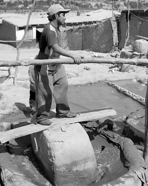 Boys working for gold company Huanca, Peru