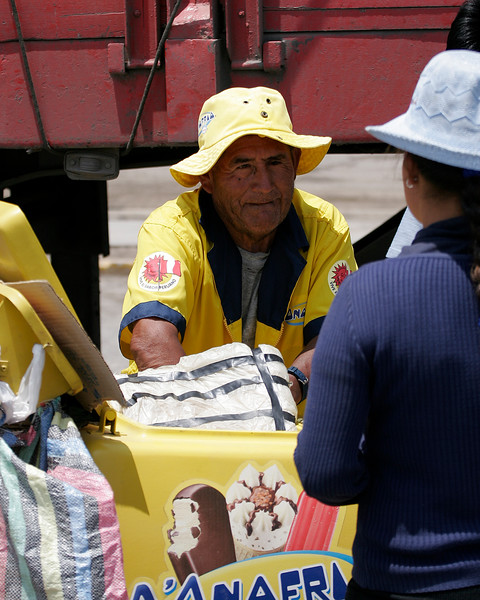 Ice cream salesman in Nasca, Peru