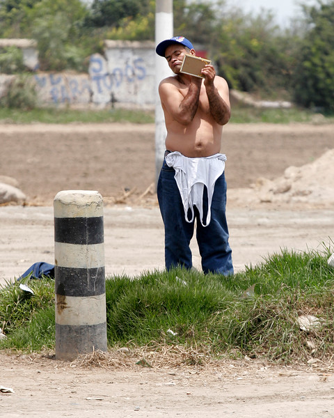 roadside shave along the Pan American Highway Peru
