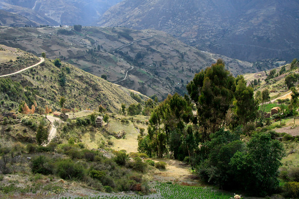 Farmers dwellings among the steep cultivated slopes along the switchback road southward from Pampas town - Huancavelica department.