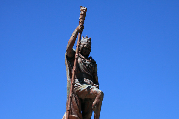 Monument to Pachacuti Yupanqui (1438-1472) - the 9th emperor/ruler of the Inca Empire - upon the southern hill overlooking the Plaza de Armas - Juliaca city - Puno department.
