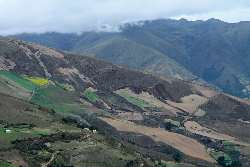 Cultivated slopes along the Andes in the Huancavelica department.
