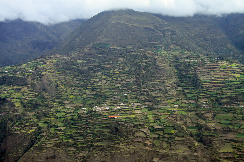 Terraced farming along the Cordillera Andes - below the cloud level - Concepcion province - Junin department.