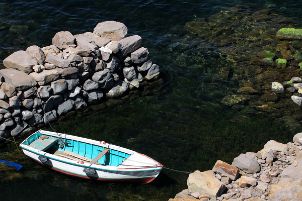 Rock constructed harbor for a pescadore's boat, along Isla Taquile - Lake Titicaca.