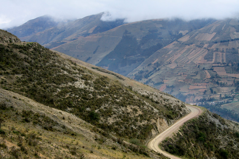 Up the switchback road from Pampas to Mantacra - Huancavelica department - Cordillera Central Andes.