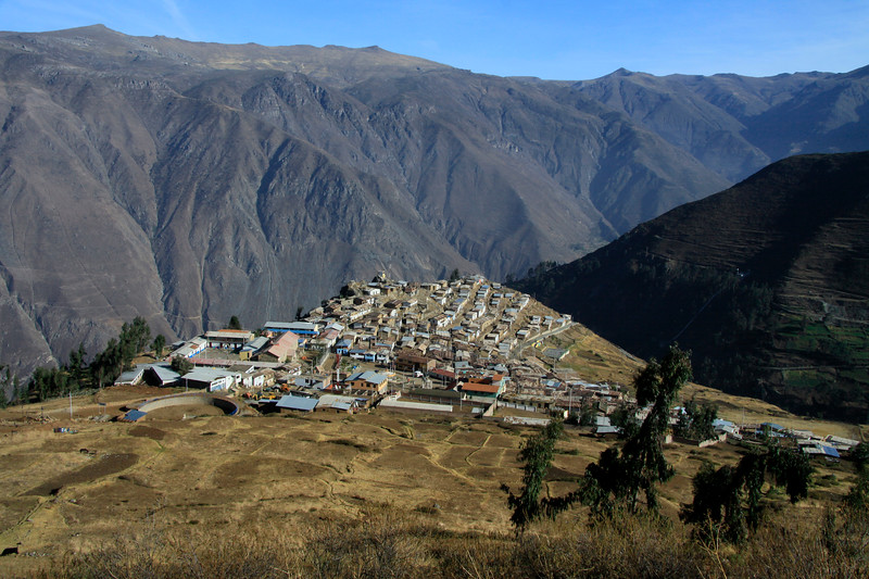 San Pedro de Casta - a mountain village, located at about 10,300 ft. (3,140 m) along the Cordillera Occidental Andes (western) - in the Huarochiri province - Lima department. This image viewing northward from along the trail to Marcahuasi (Monument to Humanity) - early spring season.
