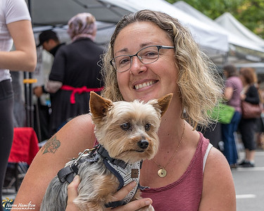 Melinda and Gizmo at the Duncan Farmers Market