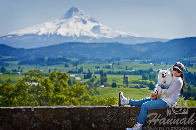 That's me with my American Eskimo dog Chabby.  The background is Mount Hood in Oregon.  © Copyright Hannah Pastrana Prieto