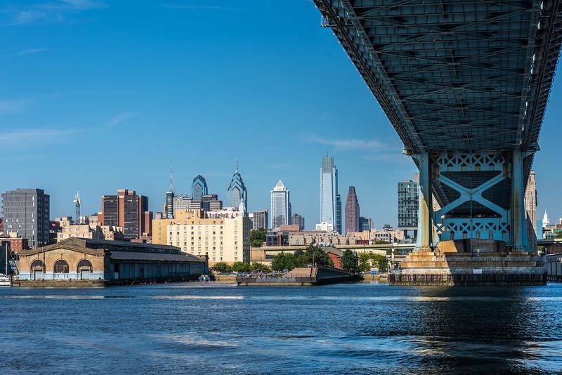 Under the Benjamin Franklin Bridge