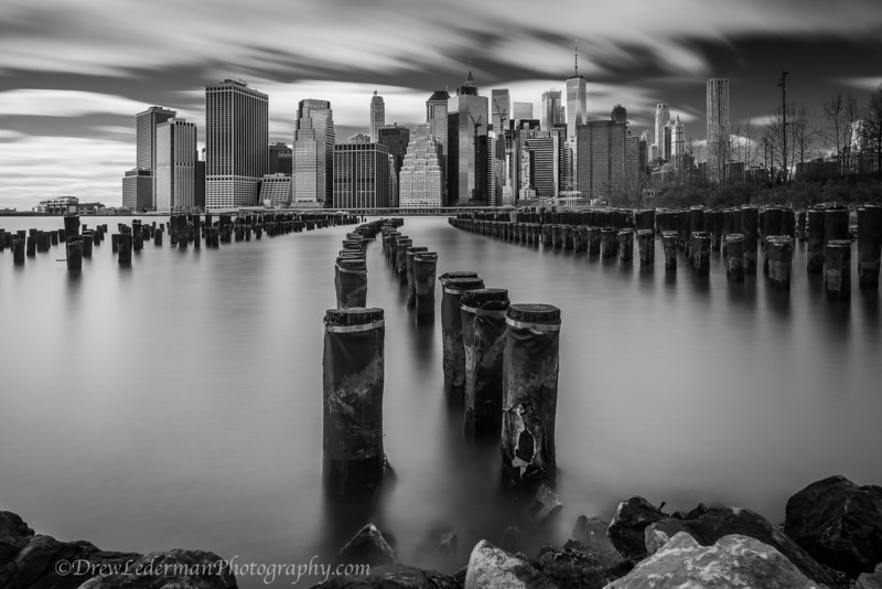 Manhattan skyline b&w