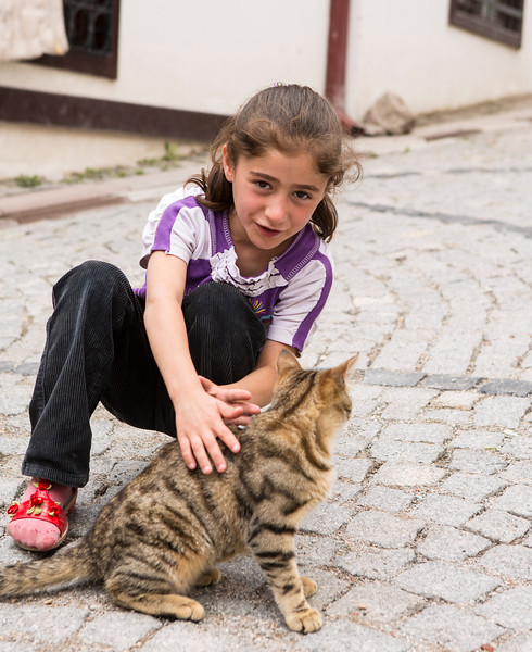 Girl and street cat -Ankara