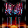 """<center><em><h2>'Artistic HDR Abstract' - """"GHOSTLY COUPLE DRINK WINE""""</h2></em></center> <center><em>~best viewed large~</em></center> Tonight I was at home relaxing when my good friend John Murphy gave me a call from his vacation location <em>(BTW-He sends his regards to everyone).</em> Well we were BS-ing & started discussing photography (imagine that) while I was setting up my POD for today in my still life studio which 'WAS' planned out to be a simple shot of 4 Crystal Glasses set up a certain way so that I could get an effect I had thought up. Well our conversation happen to change to HDR some how which made me scrap my original idea in turn for an HDR capture of the glasses.  <center><em><h2>""""The Set-Up & Post Production Details""""</h2></em></center> The original image/layer of the Glasses themselves you see have very little post done to it after the HDR tone mapping believe it or not. I set the studio up with several small canister lights and covered them with 2 colored plastic cups you use for outdoor for BBQ's and such (not the throw away kind but thick picnic re-washable type) that were laying on the table from a previous project I just happened to see and decided to see what effects I could get using them over some lights. 1 Blue and 1 Purple plastic cup covered light were set to the left of the crystal glasses pointing towards  2 separate 12"""" x 12"""" mirror squares on both sides to reflect the light back onto the stem ware. The crystal glasses have black stems with a small flower type design just under the glass itself (you can see the light reflected on this part in color). The glasses were lined up straight behind each other and then the shot was made off-setting the camera about 25' to the right allowing the glasses to appear in a diagonal pattern. (5) bracket shots were made with a total exposure adjustment of +1.0 EV capturing the colored light reflecting off the stems and through the crystal in complete darkness with just the 2 small 40 watt bulbs cast"""