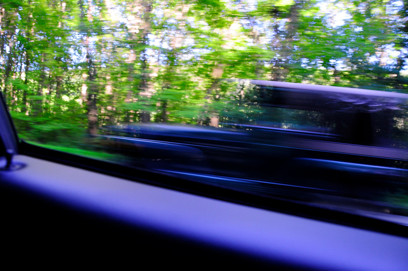 I shot this while driving and I thought it looked like that old Hurst in that creepy movie 'Carrie'. It's actually a late model SUV but using a slow shutter speed it gave the effect of an old station wagon
