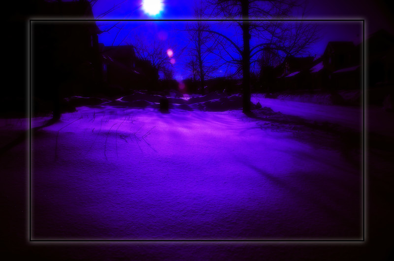 Post Processed with a purple hue, kind of looks like a mars sun set. I really liked the texture of the snow, the deep color contrast and the natural lens flare of this one