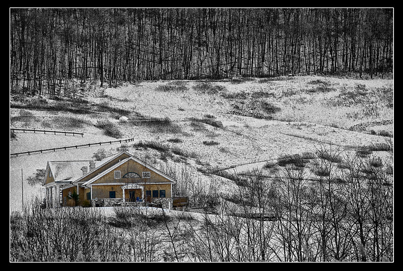 "<center><em><u><h2>""The House On The Snowy Hill""</h2></u></em></center> This was my alternate choice for my POD image today 1/13/09 because I was having a hard time deciding which one to put up. I really liked this shot because of all the lines in the hill side cris crossing across the mountain side and the forest tress & bushes creating such a huge geometry puzzle look to it. So I had to add this one to the Extra gallery because i felt it a shame to waist sitting on my hard drive.  I went with a custom B&W / selective color I created in NIK SILVER EFEX PRO which if your not aware of it is one of if not the BEST B&W conversion software package available today. VERY simple to use and has more settings then you can shake a stick at.  For more details on this incredible software plug in visit  http://www.niksoftware.com/silverefexpro/usa/entry.php  PS: If you own it already they also have over 30+ additional Pre-Sets you can download there too !!!  ~Bill~"