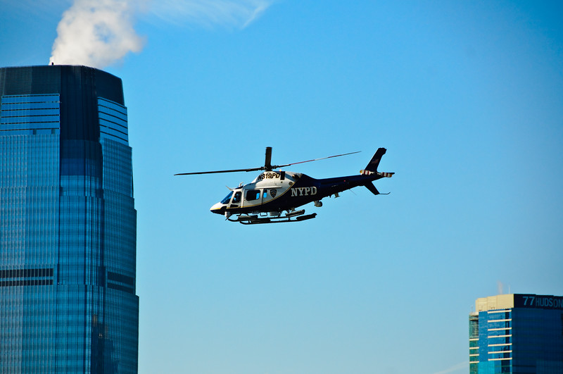 Added 1/20/09<br /> <br /> A NYPD Helicopter patrols the Hudson River near Battery Park NY while the NTSB attempts to raise US Airways Flight 1549 that went down into the Hudson River on 1/15/09.