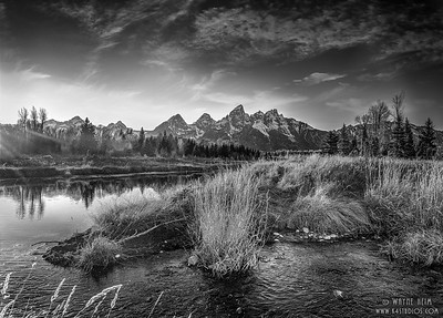 River Mountain View -   Black and White Photography by Wayne Heim
