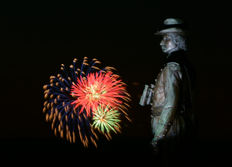 Gen. Govenour Warren Monument  with Fireworks