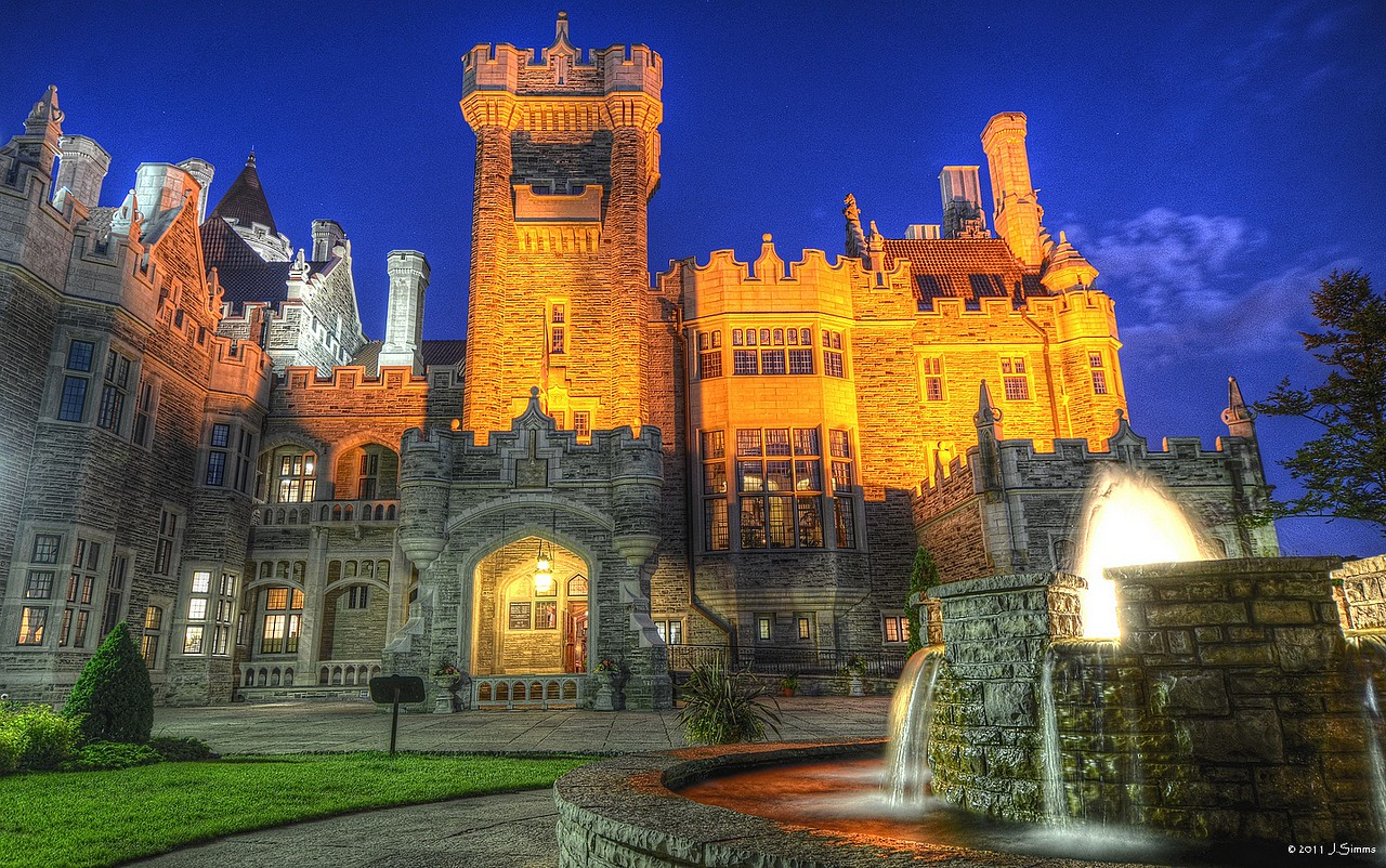 Casa Loma, Toronto, Ontario  This is Casa Loma, it's Toronto's castle complete with a hundred or so rooms, secret passages, stately towers, an 800ft underground tunnel, stables, resident ghost. It's a Gothic Revival style house in midtown Toronto, and is now a museum and landmark.
