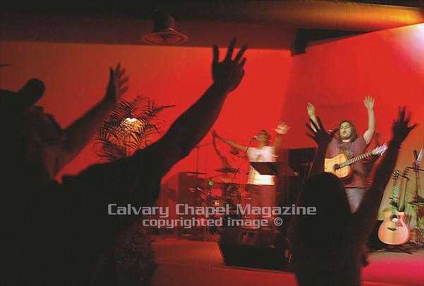 Dominic Balli leads worship at Reality Carpinteria, a Calvary Chapel in Santa Barbara, California.