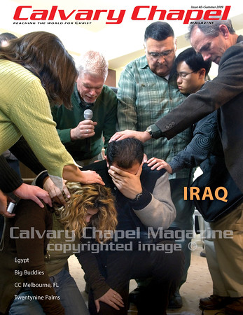 Calvary  Chapel pastors lay hands on and pray for an Iraqi couple who feel called to mnister in an area of Iraq where the Gospel has not bee preached. It occurred during a conference held in northern Iraq for believers from the entire country.
