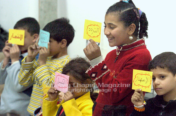 Grace Church, Cairo Egypt - Children participate in a Sunday school activity.