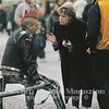 Lauren Herbert from Calvary Chapel Chino Hills shares her faith with a leather-clad German ma on a street in Stuttgart.