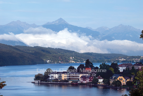 The town of Millstatt surrounded by Austrian Alps as seen from Calvary Chapel Conference Center, Schloss Heroldeck, an Austian Castle.
