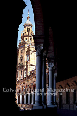 Plaza de España in the city of Seville is among the impressive architecture in Spain's southern region, Andalusia.