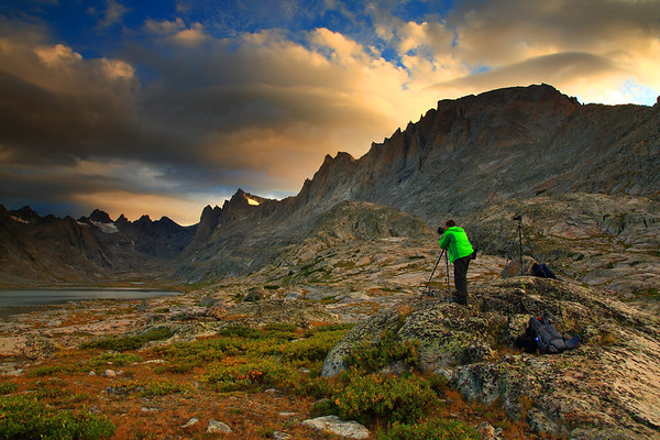 Photographer Shooting Sunset With Fremont Peak and Ticomb Lakes Basin in Bridger Wilderness of the Bridger-Teton National Forest in The Wind Rivers Range In Wyoming