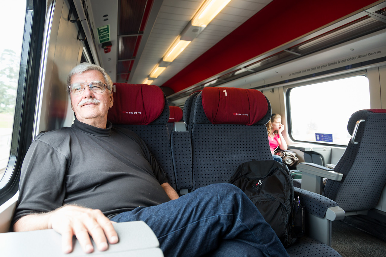 Skip on a Train in Switzerland
