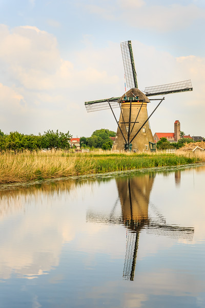 Dutch Windmill and Reflection