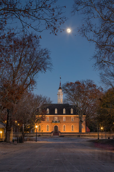 Capitol with Man-in-the-Moon Super Moon in Colonial Williamsburg