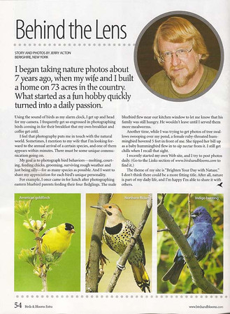 """<div class=""""jaDesc""""> <h4>Birds & Blooms Featured Photographer - Page 54 - March 2009 </h4> <p>I was very fortunate to have been selected as the featured photographer in March 2009 edition of Birds & Blooms EXTRA magazine.  </p> </div>"""