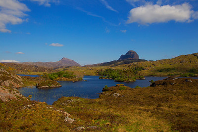 Suilven and Canisp Mountains. Sutherland. Scotland.